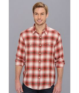 Lucky Brand Southwood Plaid 2 Pocket Mens Long Sleeve Button Up (Red)