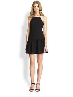 Trina Turk Doheny Flounced Cocktail Dress   Black