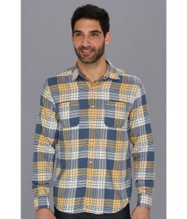Lucky Brand Bigelow Plaid 2 Pocket Mens Long Sleeve Button Up (Blue)