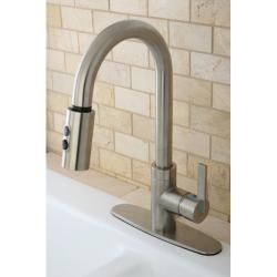Modern Satin Nickel Single Handle Faucet With Pull down Spout