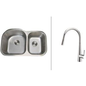 Ruvati RVC2532 Combo Stainless Steel Kitchen Sink and Chrome Faucet Set