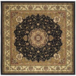 Lyndhurst Collection Traditional Black/ Ivory Rug (7 Square)