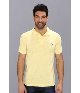 U.S. Polo Assn Solid Slub Polo Mens Short Sleeve Knit (Yellow)