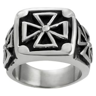 Daxx Mens Stainless Steel Pattee Cross Ring   Silver 11