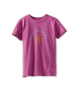 Life is good Kids Toddler Crusher Tee Here Comes the Sun Girls T Shirt (Pink)
