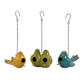 Ceramic Feathered Friends Bird Houses (set Of 3)
