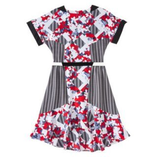Peter Pilotto for Target Belted Dress  Red Floral/Check Print 10