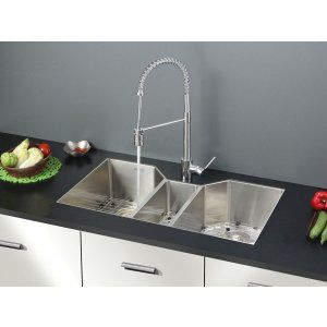 Ruvati RVC2571 Combo Stainless Steel Kitchen Sink and Chrome Faucet Set