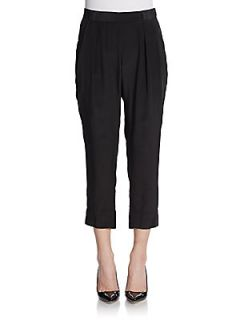 Solid Cropped Silk Pants   Black