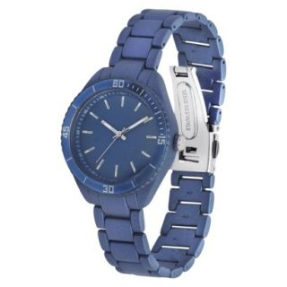 Merona Metallic Round Case Bracelet Watch   Blue