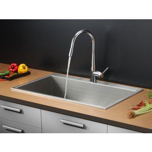 Ruvati RVC2392 Combo Stainless Steel Kitchen Sink and Chrome Faucet Set