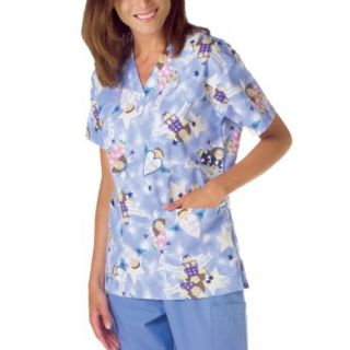 Medline Ladies V Neck Scrub Top with Two Pockets   Angel Print (X large)