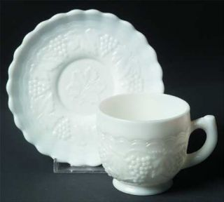 Imperial Glass Ohio Vintage Grape Milk Glass Cup and Saucer Set   Milk Glass,Gra