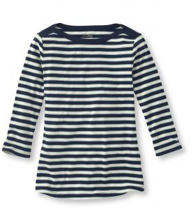 Womens Double L Rib Knit Tee, Three Quarter Sleeve Boatneck Stripe