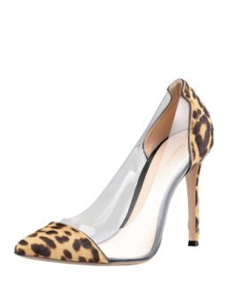 Womens Leopard Print Calf Hair PVC Pump   Gianvito Rossi
