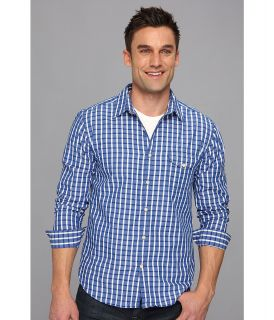 Lucky Brand Rigley Plaid 1 Pocket Mens Long Sleeve Button Up (Blue)