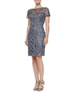Womens Short Sleeve Embroidered Sheath Cocktail Dress, Charcoal   Sue Wong