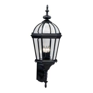 Kichler 9252BK Outdoor Light, Classic (Formal Traditional) Wall 3 Light Fixture Black (Painted)