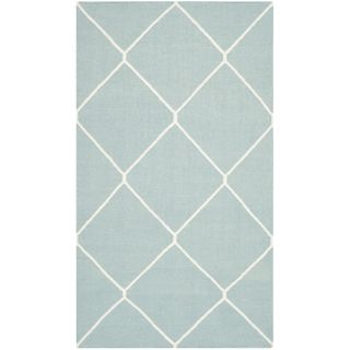 Safavieh Hand woven Moroccan Dhurries Light Blue/ Ivory Wool Rug (26 X 4)