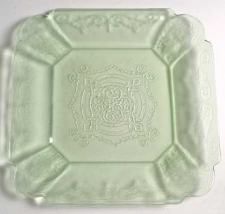 Indiana Glass Lorain Green Luncheon Plate   Green, Basket     Depression Glass