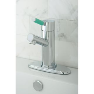 Green Lever Straight Chrome Bathroom Faucet
