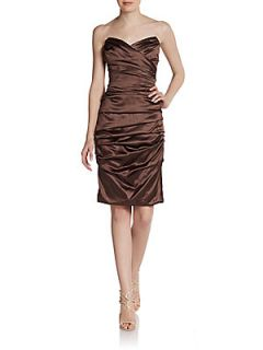 Ruched Strapless Stretch Silk Dress   Brown