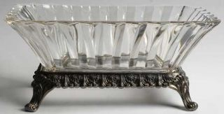 Indiana Glass 1005 11 Rectangular Bowl W/Metal Stand   Heavy Vertical Rib Desig