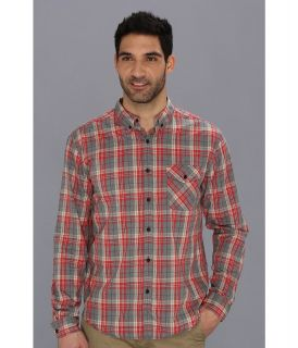 Lucky Brand Cardinal Plaid 1 Pocket Mens Long Sleeve Button Up (Multi)