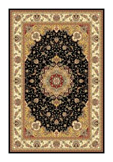 Lyndhurst Collection Traditional Black/ Ivory Rug (53 X 76) (BlackPattern OrientalMeasures 0.375 inch thickTip We recommend the use of a non skid pad to keep the rug in place on smooth surfaces.All rug sizes are approximate. Due to the difference of mon