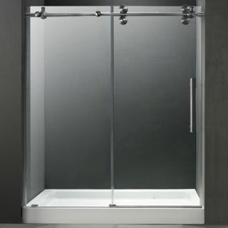 Vigo Industries VG6041STCL60WL Shower Door, 60 Frameless 3/8 w/White Base Center Drain Clear/Stainless Steel