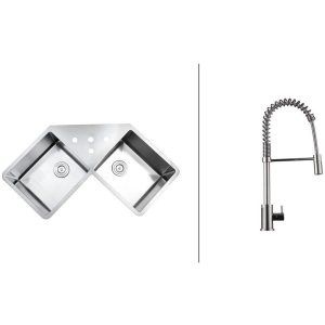 Ruvati RVC2561 Combo Stainless Steel Kitchen Sink and Chrome Faucet Set