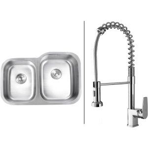 Ruvati RVC1511 Combo Stainless Steel Kitchen Sink and Chrome Faucet Set