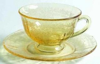 Fostoria June Topaz/Yellow Footed Cup & Saucer Set   Stem #5098, Etch #279, Yell
