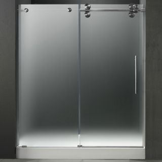 Vigo Industries VG6041STMT60RWL Shower Door, 60 Frameless 3/8 Right w/White Base Center Drain Frosted/Stainless Steel