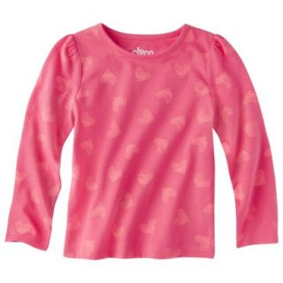 Circo Infant Toddler Girls Long sleeve Print Tee   Coral 2T
