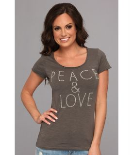 Lucky Brand Peace Love Tee Womens Short Sleeve Pullover (Gray)