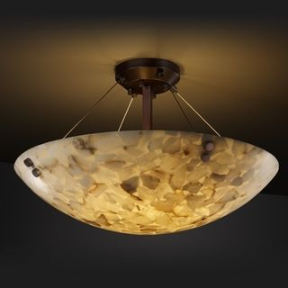 3 light Round Alabaster Rocks Dark Bronze Semi flush Fixture