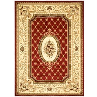 Lyndhurst Collection Traditional Red/ Ivory Rug (8 X 11)