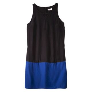 Merona Womens Colorblock Hem Shift Dress   Black/Waterloo Blue   XXL