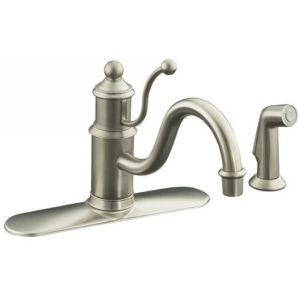 Kohler K 171 BN Antique Single Handle Kitchen Faucet with Side Spray