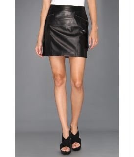 Nicole Miller Non Stretch Leather Skirt Womens Skirt (Black)