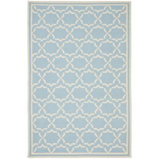 Safavieh Hand woven Moroccan Dhurrie Light Blue/ Ivory Wool Rug (5 X 8)