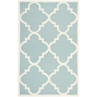 Safavieh Hand woven Moroccan Dhurrie Light Blue Wool Rug (6 X 9)