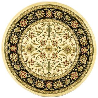 Lyndhurst Collection Majestic Ivory/ Black Rug (8 Round)