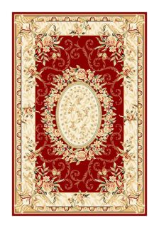 Lyndhurst Collection Aubussons Red/ Ivory Rug (8 X 11)