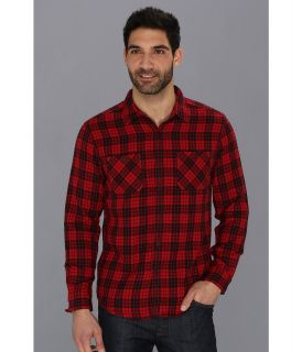 Lucky Brand Knox Plaid 2 Pocket Mens Long Sleeve Button Up (Red)