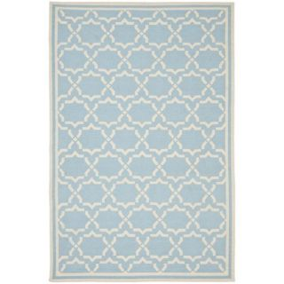 Safavieh Hand woven Moroccan Dhurrie Light Blue/ Ivory Wool Rug (4 X 6)