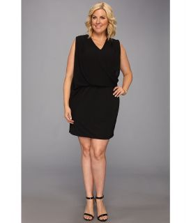DKNYC Plus Size Easy Pieces Sleeveless Chiffon Overlay Draped Dress Womens Dress (Black)