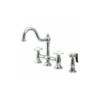 Elements of Design ES3791PXBS Universal Two Handle Kitchen Faucet With Spray
