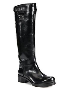 Leather Knee High Boots   Black
